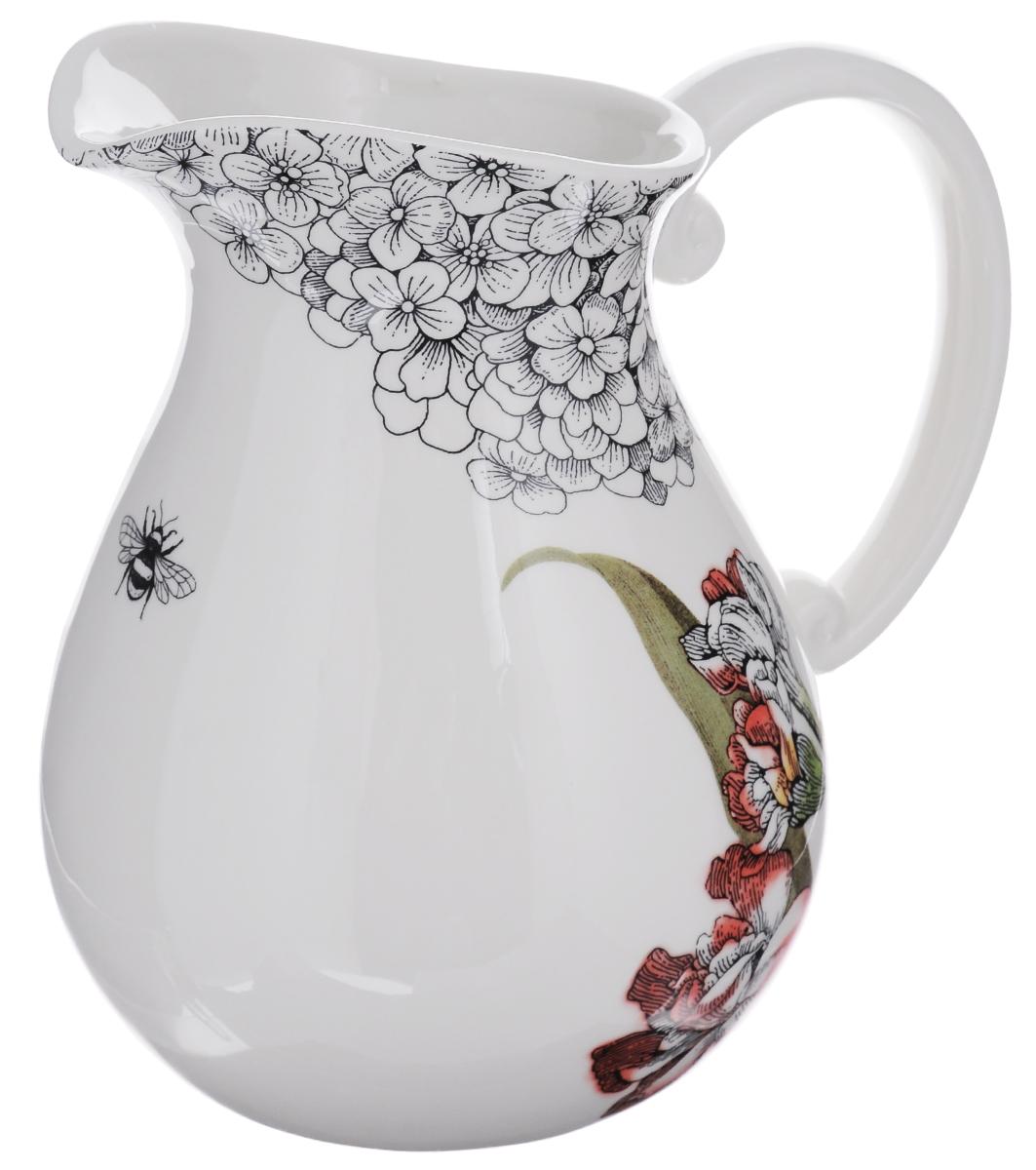 Кувшин Fitz and Floyd Гортензия, цвет: белый, черный, зеленый, 2л20-313Кувшин Fitz and Floyd Гортензия выполнен из высококачественной керамики, расписанной вручную изображением цветов. В нем будет удобно хранить и подавать на стол молоко, соки или воду.Такой кувшин украсит любой кухонный интерьер и станет хорошим подарком для ваших близких.Размер кувшина: 23 х 22 х 17,5 см. Объем кувшина: 2 л.