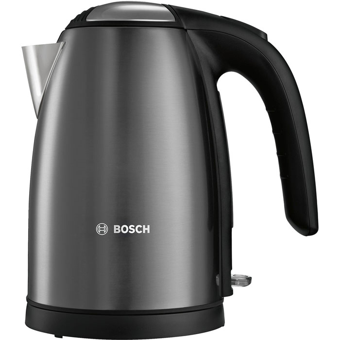 Bosch TWK7805, Black электрический чайникTWK7805Bosch TWK7805 - компактный и надежный электрический чайник со скрытым нагревательным элементом изнержавеющей стали. Прибор оснащен съемным фильтром от накипи, что позволяет существенно продлить срокего использования. Цоколь с поворотом на 360° имеет центральный контакт. Также удобство в использованииобеспечивают функция автовыключения и защита от перегрева.