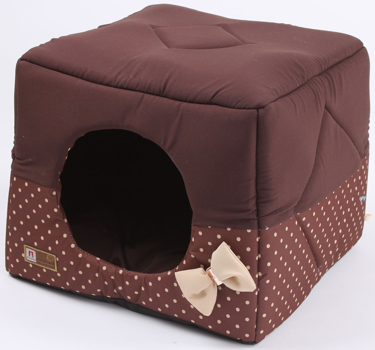 Лежак для собак и кошек Зоогурман Домосед, цвет: шоколадный, бежевый горох, 45 х 45 х 45 см лежак дарэлл хантер лось 2 с подушкой 55 40 16см