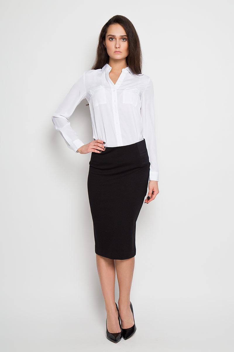 Блузка женская Sela, цвет: белый. B-112/1024-6171. Размер 50 жакет женский sela цвет темно синий jtk 116 448 6171 размер s 44