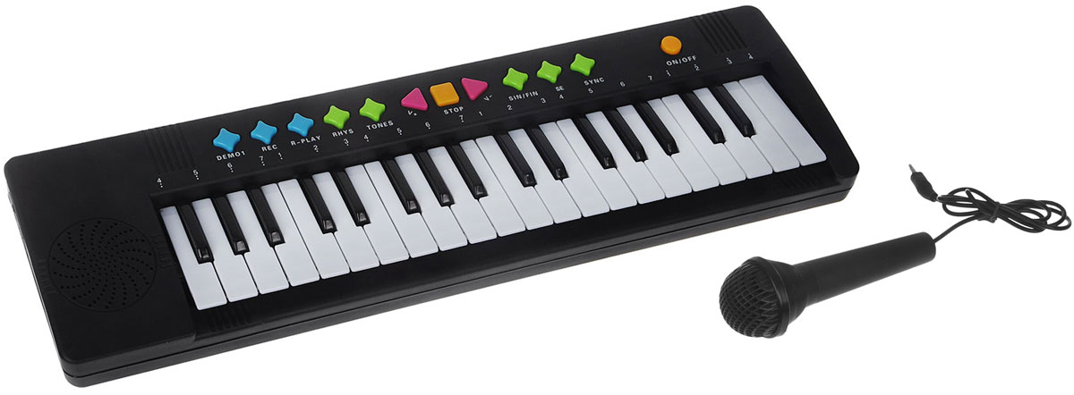 ABtoys Синтезатор DoReMi 37 клавиш с микрофоном цвет черный D-00035