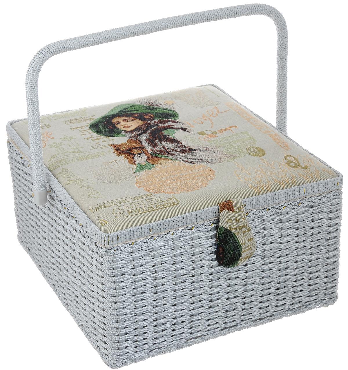 Шкатулка для рукоделия RTO Дама с собачкой, с вкладышем, 32 х 32 х 20 см рамка для фото rto miniatures 2 5 х 3 5 см vt 125