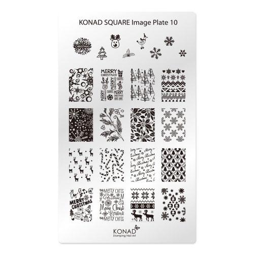 Konad Square Пластина для степинга Square Image Plate10SN-SIP10Плитка для стемпинга. Больше узоров, больше творчества. Нанести лак на диск для стемпинга, убрать излишки скрапером, отпечатать на штамп и перенести на ноготь.