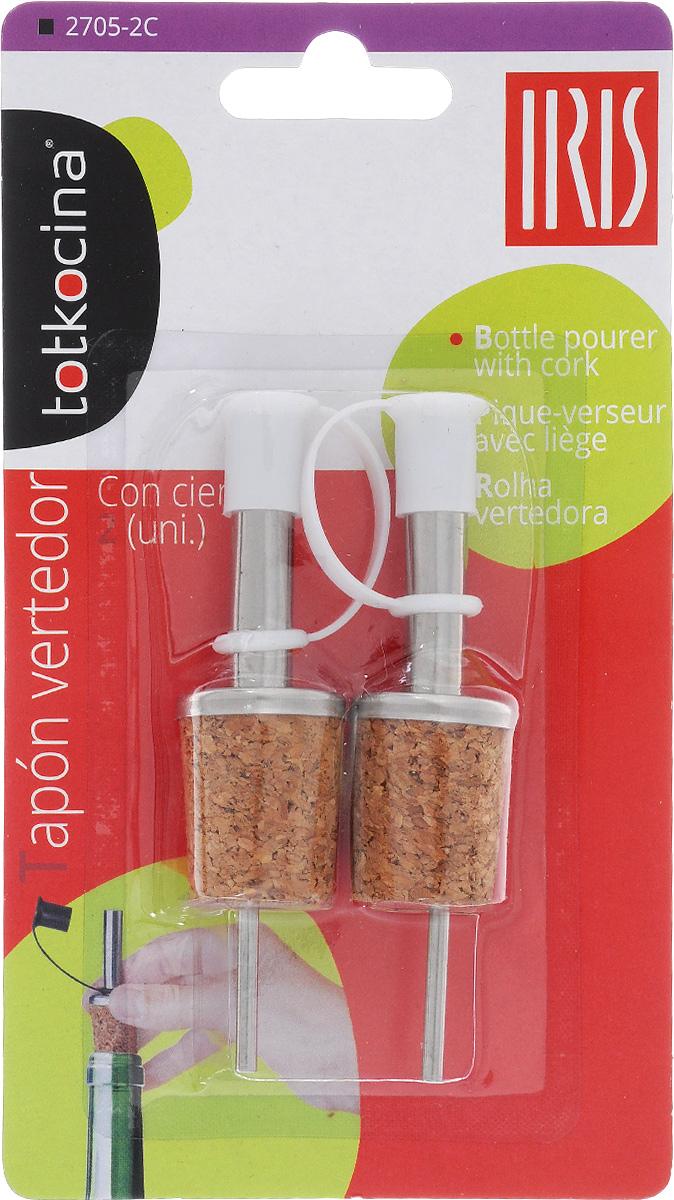 Дозатор для бутылок Iris, с крышкой, 2 шт2705-2CДозатор для бутылок Iris, выполненный из пробкового дерева инержавеющей стали, подойдет для всех бутылок стандартногоразмера. Вы легко сможете добавить уксуса, соуса или вина в ваше блюдо. Дозаторснабжен пластиковой крышечкой. В комплекте - 2 дозатора. Размер: 2,3 х 2,3 х 9,5 см.