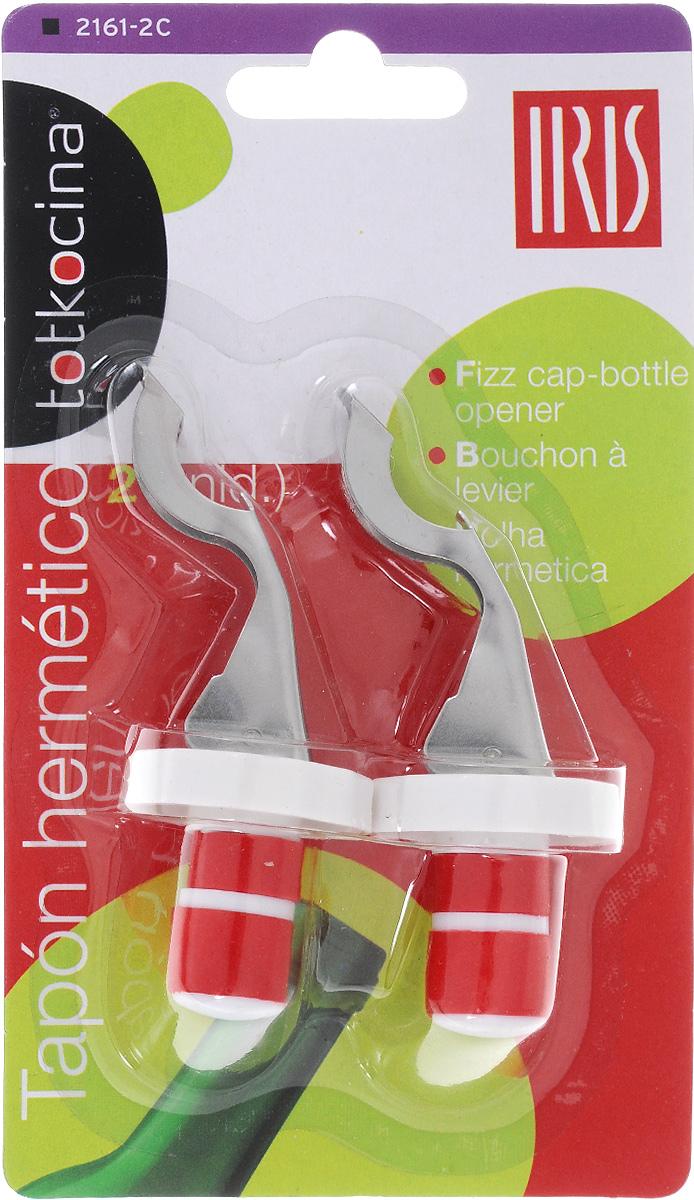 Открывалка-пробка для бутылок Iris, 2 шт2161-2CНабор Iris состоит из 2 открывалок-пробок, изготовленных из пластика и нержавеющей стали. Изделия подходят для закрывания бутылок всех стандартных размеров. Одновременно предметы набора можно использовать в качестве открывалок для бутылок.Размер: 2,5 х 2,5 х 9 см.