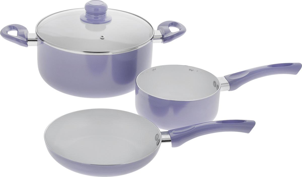 Набор посуды Calve, с керамическим покрытием, цвет: фиолетовый, 4 предмета. CL-1923CL-1923_ фиолетовыйНабор посуды Calve включает сотейник, сковороду и кастрюлю с крышкой. Набор выполнен из высококачественного алюминия с внутренним керамическим покрытием. Данное покрытие не содержит примеси PFOA, экологично и безопасно для здоровья. Высокая прочность покрытия позволяет ему выдерживать температуру до 450°С, также можно использовать металлические лопатки - покрытие устойчиво к появлению царапин и повреждениям. Внешнее цветное покрытие выдерживает высокие температуры. Посуда снабжена бакелитовыми не нагревающимися ручками удобной формы. Посуда равномерно нагревается и доводит блюда до готовности. Крышка изготовлена из жаропрочного стекла. Посуда подходит для всех типов плит, кроме индукционных. Можно мыть в посудомоечной машине. Диаметр сотейника: 16 см. Объем сотейника: 1,5 л. Высота стенки сотейника: 7,5 см. Длина ручки сотейника: 17 см. Диаметр сковороды: 20 см. Высота стенки сковороды: 4 см. Длина ручки сковороды: 16,5 см. Диаметр кастрюли: 24 см. Объем кастрюли: 5 л. Высота стенки: 11 см. Ширина кастрюли (с учетом ручек): 38,5 см.