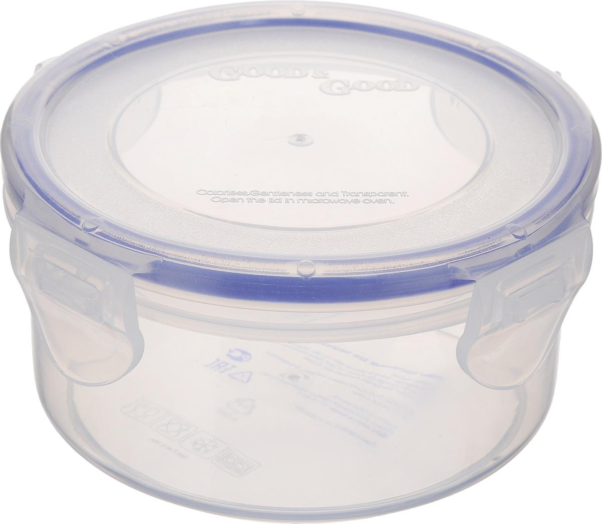 Контейнер Good&Good, цвет: прозрачный, синий, 350 млR2-1Контейнер Good&Good изготовлен из высококачественного полипропилена ипредназначен для хранения любых пищевых продуктов. Благодаря особым технологиямизготовления, лотки в течение времени службы не меняют цвет и не пропитываютсязапахами. Крышка с силиконовой вставкой герметичнозащелкивается специальным механизмом.Контейнер Good&Good удобен для ежедневного использования в быту. Можно мыть в посудомоечной машине и использовать в СВЧ. Диаметр контейнера: 11 см. Высота контейнера: 6 см.