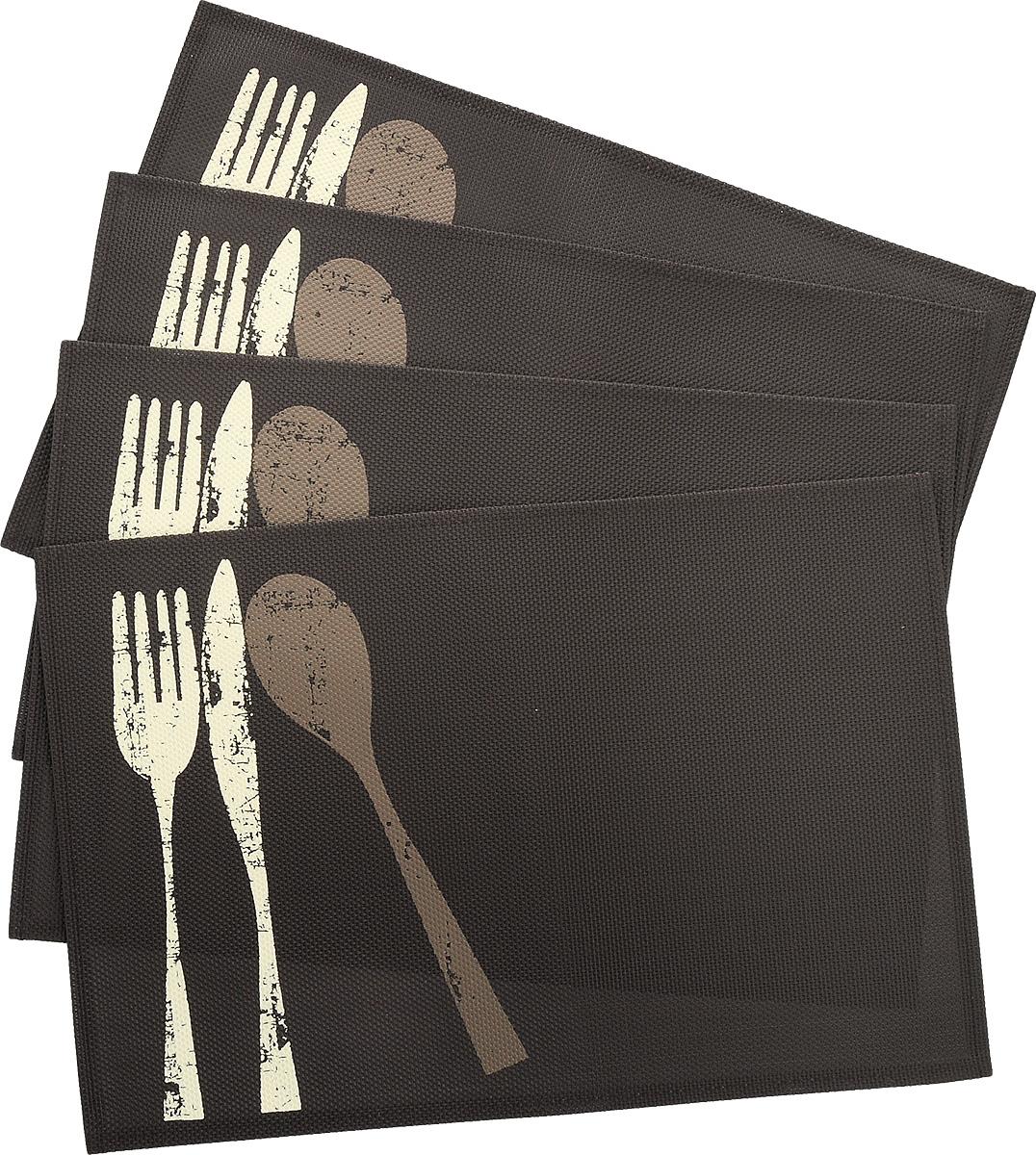Салфетка сервировочная White Fox Приборы, цвет: коричневый, 30 x 45 см, 4 штWКPL120-083_коричневыйСалфетка White Fox Приборы, выполненная из ПВХ, предназначена для сервировки стола. Она служит защитой от царапин и различных следов, а также используется в качестве подставки под горячее. Дизайнерский рисунок дополнит стильную сервировку стола. Край салфетки прострочен, что позволяет плетению не рассыпаться.