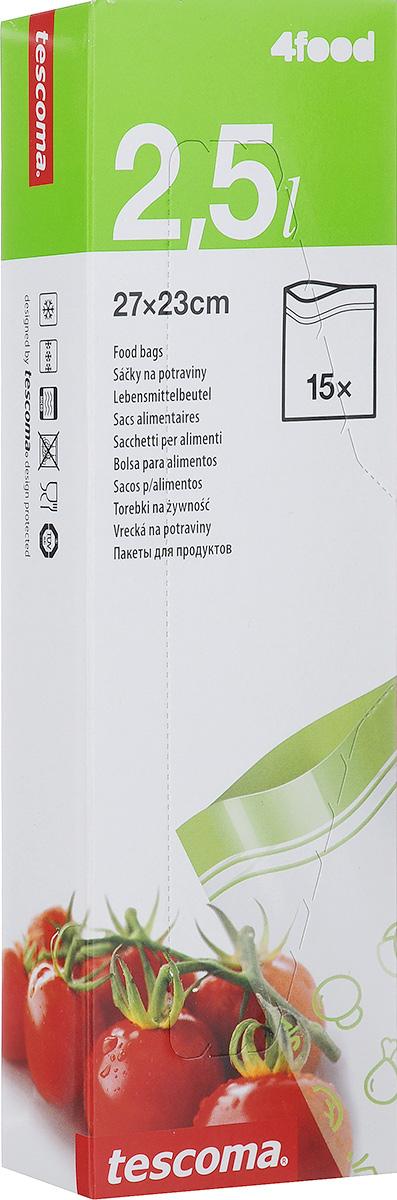 Пакеты для хранения продуктов Tescoma 4FOOD, 23 х 27 см, 15 шт897028Пакеты для хранения продуктов Tescoma 4FOOD, изготовленные из высококачественного прочного пластика, предназначены для хранения продуктов в холодильнике или морозильной камере, а также для использования в приоткрытом виде в микроволновой печи. Специальная застежка делает пакеты абсолютно герметичными, теперь вы сможете забыть о неприятном запахе в холодильнике, а все содержимое будет храниться гораздо дольше. На самих пакетах можно сделать надпись маркером, которая легко стирается влажной губкой.Пакеты для хранения продуктов Tescoma 4FOOD - удобный и практичный вид современной упаковки, предназначенный для хранения продуктов.Размер пакетов: 23 х 27 см.