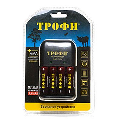 Трофи TR-120 зарядное устройство + аккумуляторы 4 х AA (2300 мАч)TR-120Компактное 8-ми часовое зарядное устройство для аккумуляторов Трофи TR-120 AA и комплект из 4-х аккумуляторов.Емкость аккумуляторов: 2300 мАчТипы заряжаемых аккумуляторов: NiMH, NiCd