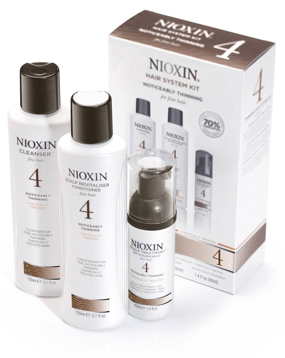 Nioxin System Набор (Система 4) 4 Kit 150 мл+150 мл+40 мл81274205В набор Nioxin Starter Kit System 4 входят:Шампунь Очищение 150 мл - придающий объём очистительКондиционер Увлажнение 150 мл - придающий объём кондиционерМаска Питание 40 мл - придающая объём и питающая волосы маска
