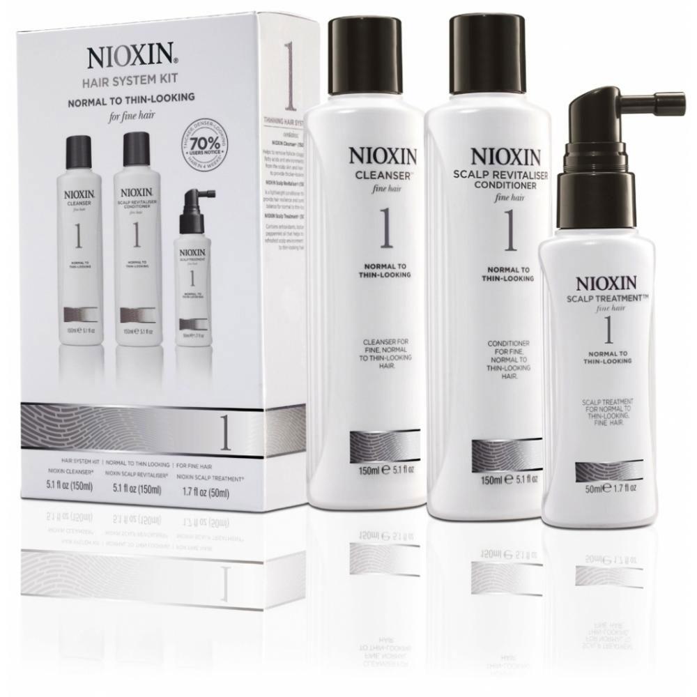 Nioxin System Набор (Система 1) 1 Kit 150 мл+150 мл+50 мл81274196В набор Nioxin System 1 Kit входят: Шампунь Очищение 150 мл - придающий объём очиститель Кондиционер Увлажнение 150 мл - придающий объём кондиционер Маска Питание 50 мл - придающая объём и питающая волосы маска