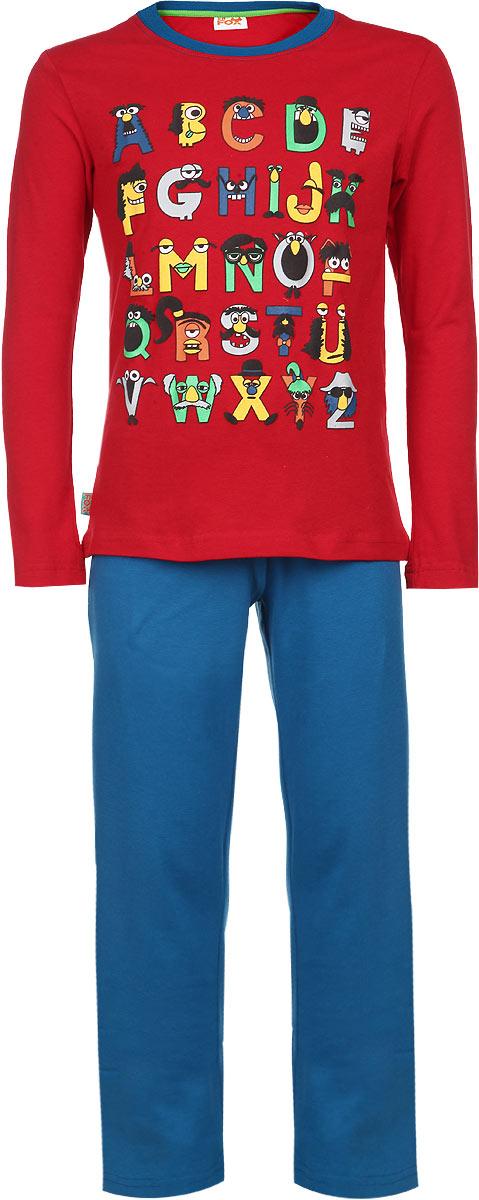 Пижама для мальчика KitFox, цвет: красный, синий. AW15-UAT-BST-053. Размер 104/110AW15-UAT-BST-053Пижама для мальчика KitFox, состоящая из футболки с длинным рукавом и брюк, идеально подойдет вашему ребенку. Пижама выполнена из хлопка c добавлением эластана, она очень мягкая и приятная на ощупь, не сковывает движения и позволяет коже дышать, не раздражает даже самую нежную и чувствительную кожу ребенка, обеспечивая ему наибольший комфорт. Футболка с длинными рукавами и круглым вырезом горловины оформлена ярким принтом в виде букв английского алфавита. Вырез горловины дополнен трикотажной резинкой. Брюки прямого кроя на талии имеют широкую эластичную резинку, которая не позволяет брюкам сползать, не сдавливая животик ребенка.В такой пижаме ваш ребенок будет чувствовать себя комфортно и уютно во время сна.