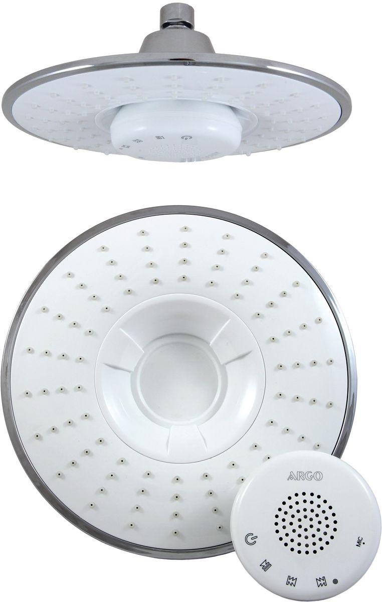 Душ верхний Argo Sound, музыкальный, цвет: белый, диаметр 21,5 см34983Верхний душ Argo Sound воплощает в себе стильную простоту и комфорт виспользовании. Внутренняя конструкция изделия обеспечивает достаточный напор струи даже при низком давлении воды в системе водопровода. Изделие выполнено из пластика и оснащено функциями проигрывания музыки и приема телефонных звонков. Проигрывание музыки и прием телефонных звонков происходит посредством передачи сигнала от основного источника через Bluetooth. Управление осуществляется как с музыкального источника, так и непосредственно через блок–приемник по системе Touch Screen.- Версия Bluetooth: Bluetooth V3.0 + EDR- Аккумуляторная батарея: 1100 mАhLi – Po - Радиус действия сигнала: 15 метров- Время полного заряда батареи: 4 часа- Продолжительность работы батареи: 11,5 часов - Режим ожидания: 15 дней (при низком заряде батареи, колонка будет издавать сигнал) - Водостойкий корпус музыкального блока- Присоединительный размер: 1/2 - Рабочее давление потока: 0,4 МПаВ набор входят:- Душевая сетка с шарнирным соединением + прокладка-фильтр- Музыкальный блок-приемник- Шнур для зарядки через USB- Паспорт изделия Размер лейки: 21,5 х 9,5 см.