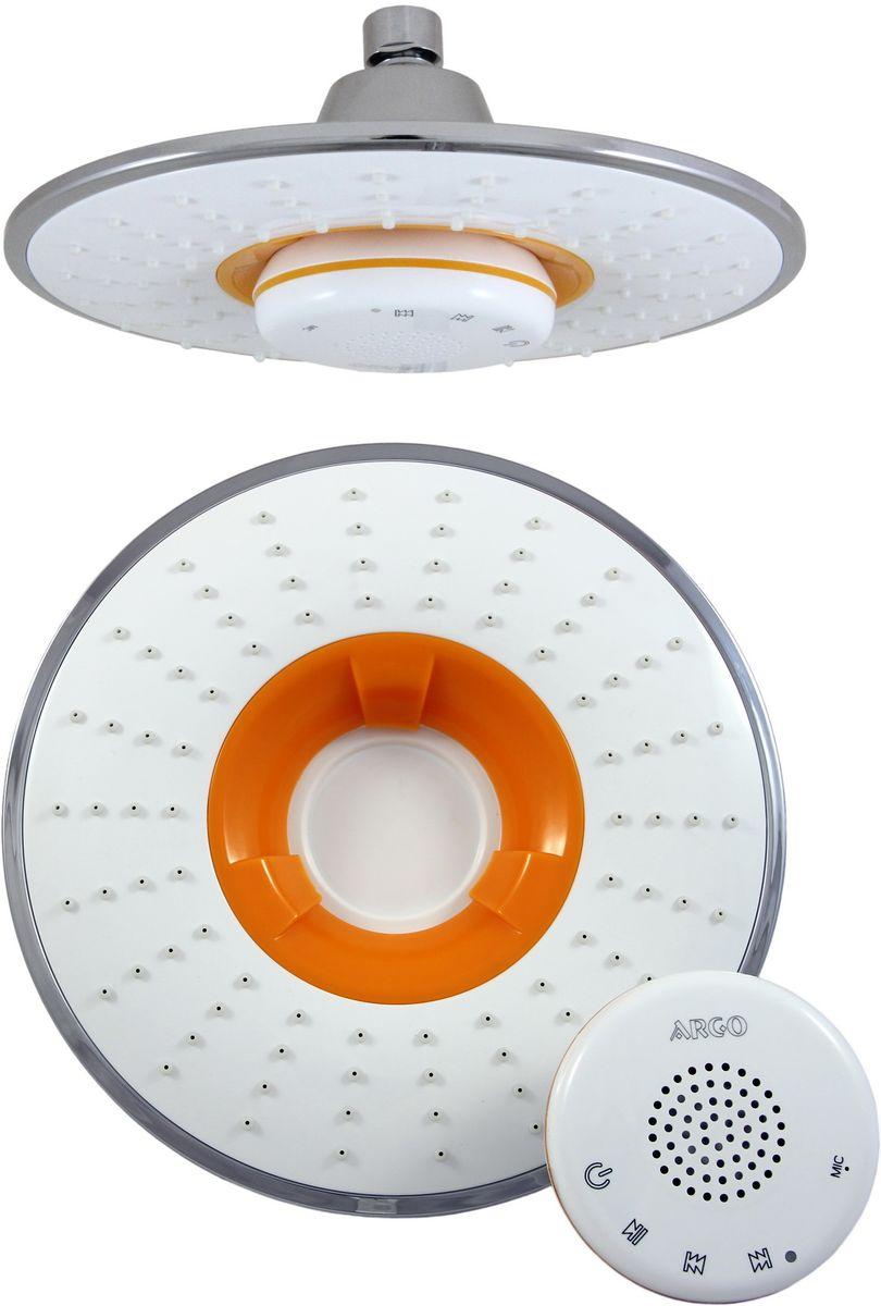 Душ верхний Argo Sound, музыкальный, цвет: белый, оранжевый, диаметр 21,5 см34990Верхний душ Argo Sound воплощает в себе стильную простоту и комфорт виспользовании. Внутренняя конструкция изделия обеспечивает достаточный напор струи даже при низком давлении воды в системе водопровода. Изделие выполнено из пластика и оснащено функциями проигрывания музыки и приема телефонных звонков. Проигрывание музыки и прием телефонных звонков происходит посредством передачи сигнала от основного источника через Bluetooth. Управление осуществляется как с музыкального источника, так и непосредственно через блок–приемник по системе Touch Screen.- Версия Bluetooth: Bluetooth V3.0 + EDR- Аккумуляторная батарея: 1100 mАhLi – Po - Радиус действия сигнала: 15 метров- Время полного заряда батареи: 4 часа- Продолжительность работы батареи: 11,5 часов - Режим ожидания: 15 дней (при низком заряде батареи, колонка будет издавать сигнал) - Водостойкий корпус музыкального блока- Присоединительный размер: 1/2 - Рабочее давление потока: 0,4 МПаВ набор входят:- Душевая сетка с шарнирным соединением + прокладка-фильтр- Музыкальный блок-приемник- Шнур для зарядки через USB- Паспорт изделия Размер лейки: 21,5 х 9,5 см.