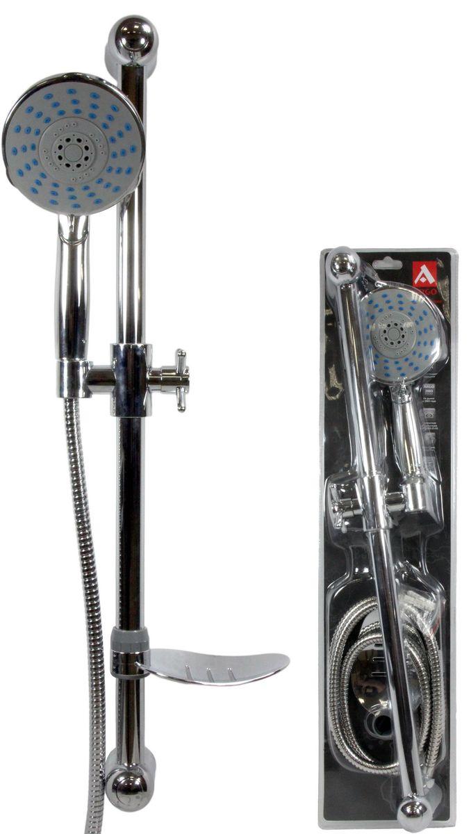 Душевой набор Argo Disc: лейка, шланг, стойка, мыльница36414Душевой набор Argo Disc: лейка, шланг, стойка, мыльница — полезный и практичный комплект, который станет идеальным дополнением для любой ванной комнаты. Удобная конструкция 3 в 1 отличается компактными габаритами и выдержана в универсальной серебристой расцветке, поэтому она отлично впишется в интерьер любой ванной комнаты.Особое покрытие изделия надежно защищает его от появления коррозии и различных механических воздействий. Множественные отверстия в лейке создают приятный массажный эффект, улучшая работу сердечно-сосудистой системы, эффективно борясь со стрессом, головными болями, усталостью и отрицательными эмоциями.Характеристики: Стойка:- материал трубки: нержавеющая сталь,- опоры, кронштейн: ABS пластик,- покрытие: хром,- диаметр трубки: 25 мм,- общая высота: 64 см,- межосевое расстояние крепежа: 61 см, - фиксация кронштейна: ручная, - в комплекте с крепежом.Мыльница: хромированный пластик.Лейка для душа: - присоединительный размер: 1/2,- диаметр диска: 115 мм,- высота: 241 мм,- рабочее давление: 3 - 5 bar,- материал: пластик,- покрытие: хром,- пятипозиционная: душ, массаж, аэро, душ-аэро, OFF,- каждая позиция потока фиксируется щелчком,- прорезиненные форсунки облегчают чистку кальциевых отложений,- положение OFF позволяет перекрыть поток воды, оставляя изначальные настройки температуры и потока воды.Стойка:- материал трубки: нержавеющая сталь,- опоры, кронштейн: ABS пластик,- покрытие: хром,- диаметр трубки: 25 мм,- общая высота: 64 см,- межосевое расстояние крепежа: 61 см,- фиксация кронштейна: ручная,- в комплекте с крепежом.Шланг для душа: - длина: 150 см,- присоединительный размер: 1/2 х 1/2,- тип фитинга: гайка – конус с насечкой,- материал оплетки: нержавейка,- материал трубки: PVC,- материал присоединительных фитингов: латунь,- покрытие: хром,- внешний диаметр: 14 мм,- максимальная статическая нагрузка: 60 кг,- максимальное рабочее давление: 10 bar,- рабочее давление: 5 bar,- в комплекте две 