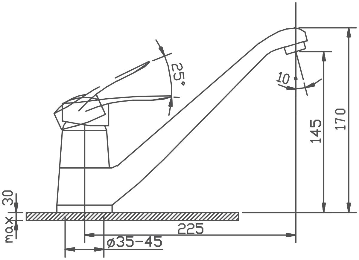 """Смеситель для кухни Argo """"Boss"""" предназначен для смешивания холодной и горячей воды, устанавливается на мойку. Выполнен из высококачественного металла с покрытием из никеля и хрома.В комплекте гибкая подводка """"Argo"""" (длина 50 см).  Запорный механизм: картридж d-40 мм """"Short-size""""  Аэратор: ячейковый М24х1 """"OnlyPlast"""" 10-13 л/мин при 0,3 МПа Крепеж: двухшточный """"Double-rod""""   Литой излив"""