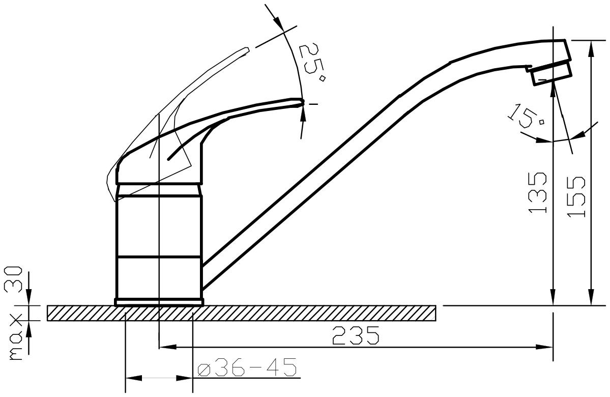 """Смеситель для кухни Argo """"Jamaica"""" предназначен для смешивания холодной и горячей воды, устанавливается на мойку. Выполнен из высококачественного металла с покрытием из никеля и хрома.В комплекте гибкая подводка """"Argo"""" (длина 50 см).  Запорный механизм: картридж d-40 мм """"Short-size""""  Аэратор: ячейковый М24х1 """"OnlyPlast"""" 10-13 л/мин при 0,3 МПа Крепеж: двухшточный """"Double-rod"""""""