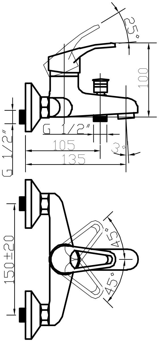 """Смеситель для ванны Argo """"Young"""" предназначен для смешивания холодной и горячей воды, устанавливается на стену. Выполнен из  высококачественной латуни с покрытием из хрома. Запорный механизм: картридж d-35 мм """"Short-size"""". Тип дайвотера: штоковый. Аэратор: ячейковый М24х1 """"OnlyPlast"""" 10-13 л/мин при 0,3 МПа. Крепеж: эксцентрик 3/4"""" x 1/2"""", прокладка-фильтр."""