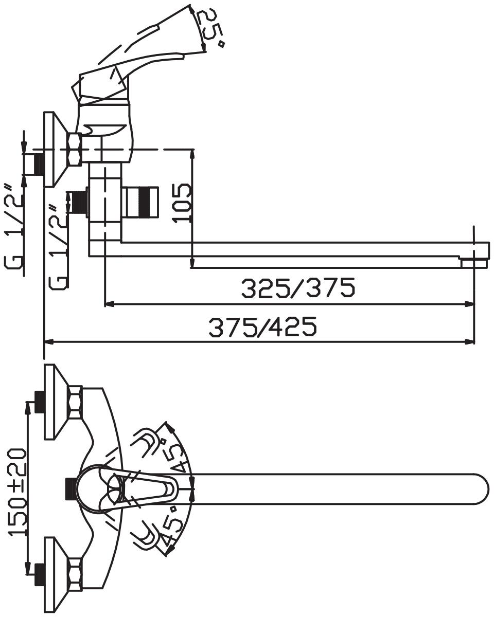 """Смеситель для ванны и умывальника Argo """"Young"""" предназначен для смешивания холодной и горячей воды, устанавливается на стену. Выполнен из высококачественного металла с покрытием из никеля и хрома.Запорный механизм: картридж d-35 мм """"Short-size""""  Тип дайвотера: картриджный      Аэратор: ячейковый М24х1 """"OnlyPlast"""" 10-13 л/мин при 0,3 МПа   Крепеж: эксцентрик 3/4"""" x 1/2"""", прокладка-фильтр    Комплектация:Душевой шланг 150 см, хромированная нержавеющая сталь, двойной замок, 1/2""""  Душевая лейка Mono однопозиционная: душ    Кронштейн"""