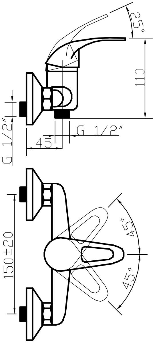 """Смеситель для душа Argo """"Open"""" предназначен для смешивания холодной и горячей воды, устанавливается на стену. Смеситель выполнен из хромированной нержавеющей стали.  В комплекте: кронштейн и душевая лейка """"Моно"""".   Длина шланга для душа: 150 см.  Запорный механизм: картридж d-35 мм """"Short-size"""". Крепеж: эксцентрик 3/4"""" x 1/2"""", прокладка-фильтр."""
