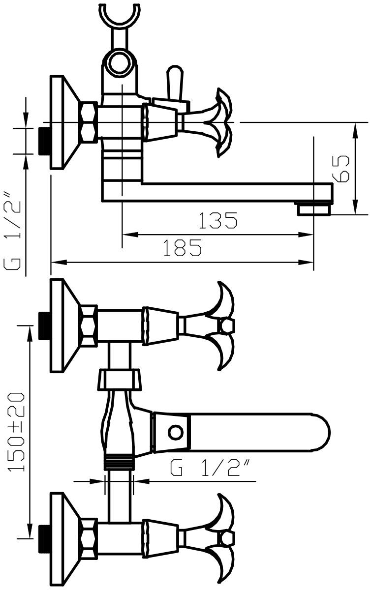 """Смеситель для ванны Argo """"Iris"""" предназначен для смешивания холодной и горячей воды, устанавливается на стену. Выполнен из  высококачественной латуни с покрытием из хрома. Запорный механизм: кран букса 1/2"""" 90° """"Керамика"""" 7,7х20. Тип дайвотера: клапанный. Аэратор: ячейковый М24х1 """"Only-Plast"""" 10-13 л/мин при 0,3 МПа. Крепеж: эксцентрик 3/4""""х1/2"""", прокладка-фильтр."""