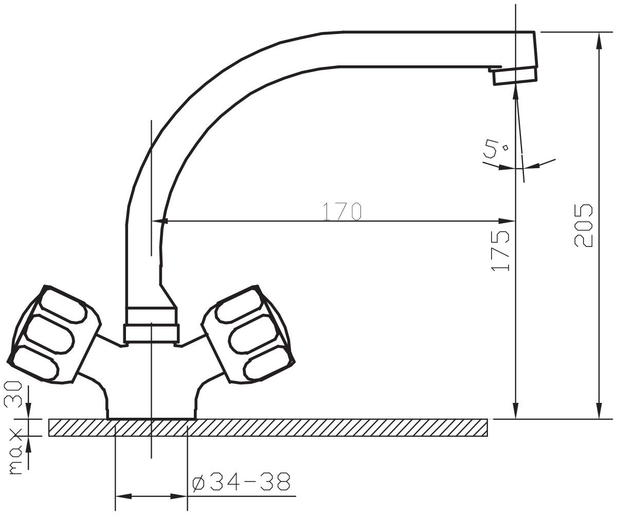 """Смеситель для кухни Argo """"Doria"""" предназначен для смешивания холодной и горячей воды, устанавливается на мойку. Выполнен из высококачественного металла с покрытием из никеля и хрома.В комплекте гибкая подводка """"Argo"""" (длина 50 см).  Запорный механизм: кран букса 1/2"""" 90° """"Керамика"""" 7,7х20 Аэратор: ячейковый М24х1 """"Only-Plast"""" 10-13 л/мин при 0,3 МПа   Крепеж: одношточный """"Single-rod"""""""