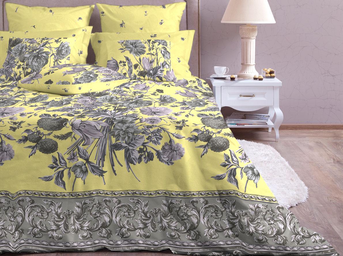 Комплект белья Хлопковый Край Валенсия, 1,5-спальный, наволочки 70x70, цвет: желтый879-1Комплект постельного белья выполнен из сатина и украшен оригинальным рисунком. Комплект состоит из пододеяльника, простыни и двух наволочек.Использование качественного сырья и красителей обеспечит крепкий и здоровый сон своему владельцу. Поддайтесь искушению изысканного и комфортного белья, окунувшись в мир грез и сновидений!