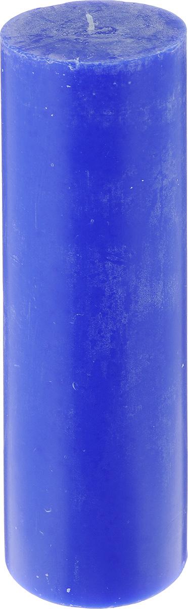 Свеча декоративная Proffi Столбик, цвет: синий, высота 23,5 см фигурка декоративная из искусственного камня proffi home медведь proffi