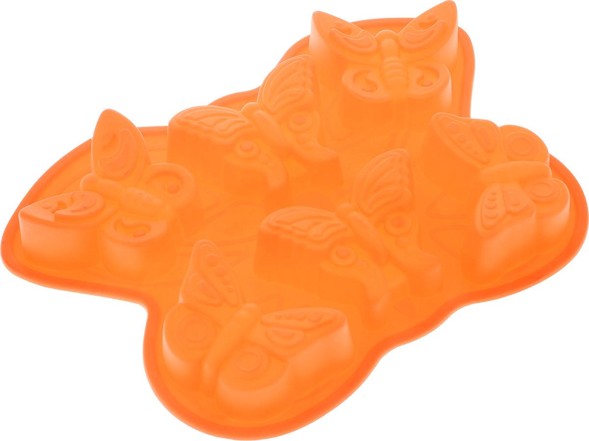 Форма для выпечки Mayer & Boch Бабочки, силиконовая, цвет: оранжевый, 6 ячеек21985_ оранжевыйФорма для выпечки Mayer & Boch Бабочки изготовлена из высококачественного силикона. Стенки формы легко гнутся, что позволяет легко достать готовую выпечку и сохранить аккуратный внешний вид блюда. Форма имеет 6 ячеек в виде бабочек.Силикон - материал, который выдерживает температуру от -40°С до +230°С. Изделия из силикона очень удобны в использовании: пища в них не пригорает и не прилипает к стенкам, форма легко моется. Приготовленное блюдо можно очень просто вытащить, просто перевернув форму, при этом внешний вид блюда не нарушится. Изделие обладает эластичными свойствами: складывается без изломов, восстанавливает свою первоначальную форму. Порадуйте своих родных и близких любимой выпечкой в необычном исполнении. Подходит для приготовления в микроволновой печи и духовом шкафу при нагревании до +230°С; для замораживания до -40°.Размер ячейки: 10,5 см х 6 см х 4 см.Размер формы: 32,5 см х 23 см х 4 см.