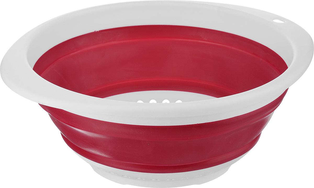Дуршлаг складной Calve, цвет: красный, 30 x 26,5 x 4 смCL-4595_ красныйДуршлаг Calve, изготовленный из высококачественного силикона и пластика, станет полезным приобретением для вашей кухни.Он предназначен для отделения жидкости от твердых веществ, например, после варки макаронных изделий, круп, картофеля. Также дуршлаг используется для мытья и промывания ягод, грибов, мелких фруктов и овощей.Дуршлаг компактно складывается, что делает его удобным для хранения.Можно мыть в посудомоечной машине.Внутренний диаметр: 24 см.Размер (в разложенном виде): 30 х 26,5 х 11 см.Размер (в сложенном виде): 30 х 26,5 х 4 см.