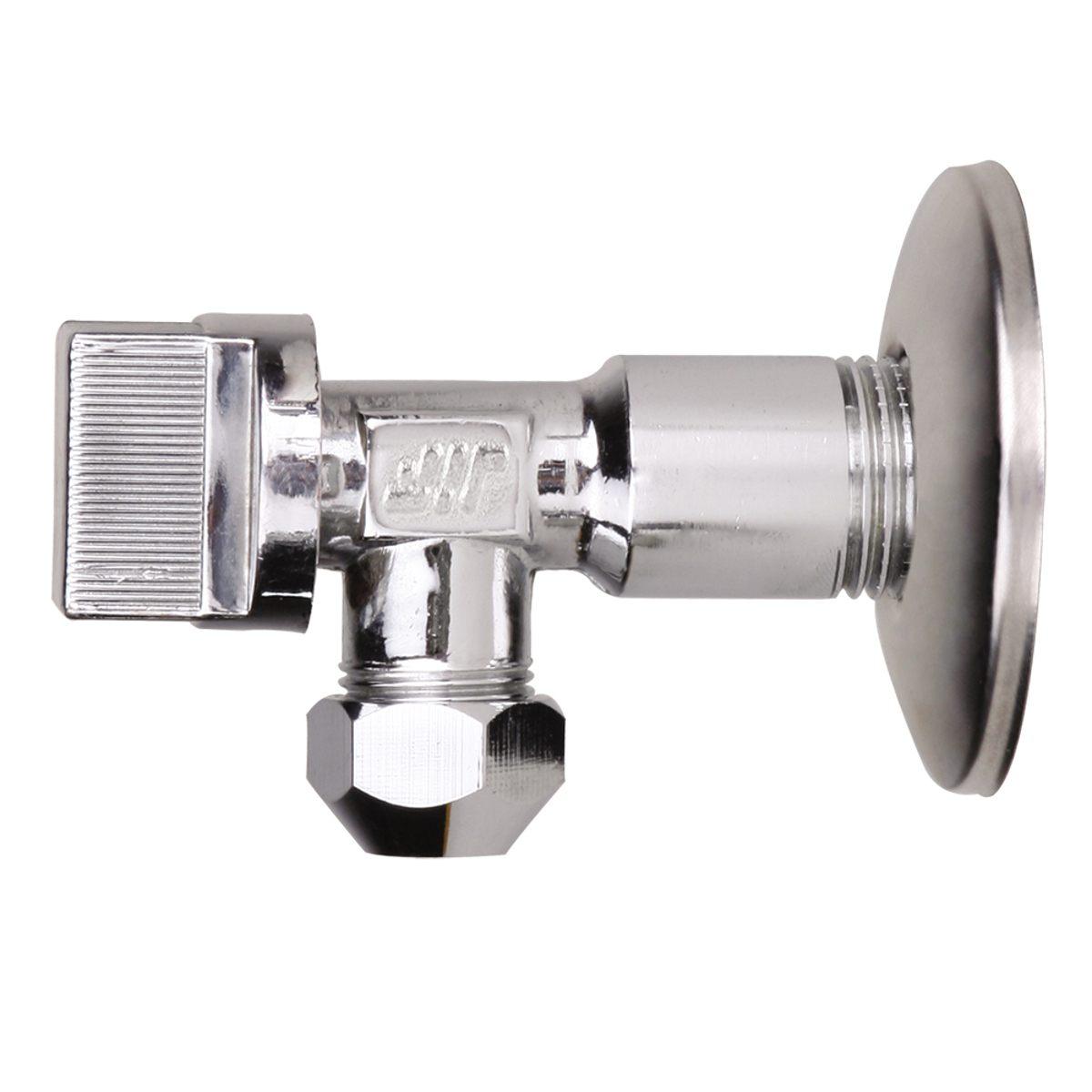 Кран шаровый Jif 265, усилинный, угловой, с цангой M10, 1/2 х 3/8ИС.080444Кран шаровый Jif 265 усиленный, угловой предназначен для подключения стационарных приборов с отражателем 1/2 х 3/8. Шаровый кран выполнен с цангой M10 (тип L86) и имеет хромированное покрытие. Модель применяется для подключения к водопроводной сети санитарных приборов (смывных бачков, и пр.).