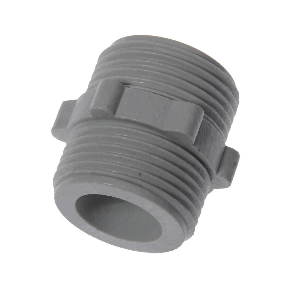 """Ниппель (бочонок) пластиковый представляет из себя соединительную трубку, предназначенную для временного или постоянного герметичного соединения двух заливных шлангов друг с другом.Размер: 3/4"""" (20 мм).Материал: пластик."""