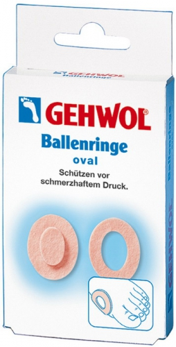 Gehwol Ballenringe oval - Накладки кольцо, овальные 6 шт1*271001Накладки кольцо, овальные (Gehwol Ballenringe oval) благодаря тому, что они, сделанные из мягкого войлока и наличия клеевого слоя, предотвращают малейшие натирания чувствительных участков кожи.Использовать накладки можно не только для предотвращения натираний или на мозолях, но и для чувствительной косточки стопы. Накладки кольца применяются для устранения дискомфорта при выпирающей косточке, искривленных пальцах, и для защиты пальцев от натираний при ношении открытой обуви.С использованием накладок колец, вы не утратите свой привычный образ жизни, сохранив возможность продолжать активно двигаться при этом, не причиняя дискомфорт вашим ногам.Результат: Gehwol Ballenringe oval овальные устраняют натирание кожи между пальцами ног, образование мозолей и участков загрубевшей кожи на пальцах.