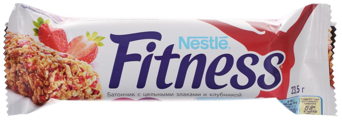 Nestle Fitness батончик с цельными злаками и клубникой, 23,5 г