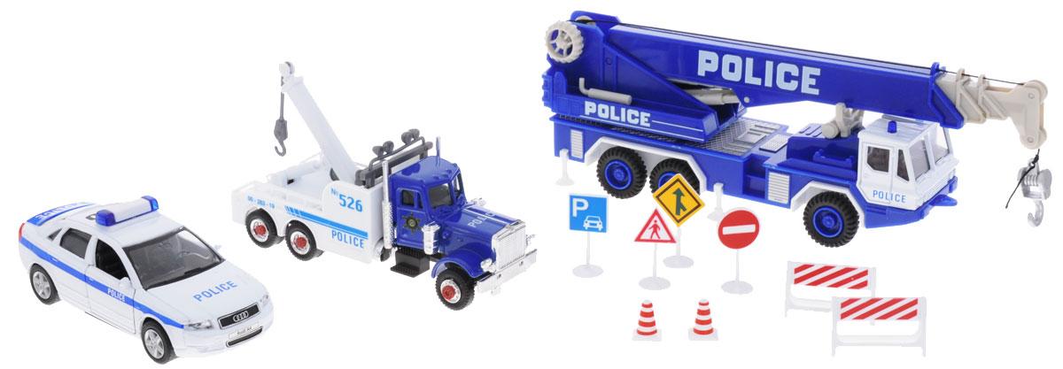 Welly Игровой набор Полиция 11 предметов машинки welly игрушка игровой набор гараж включает 1 машину