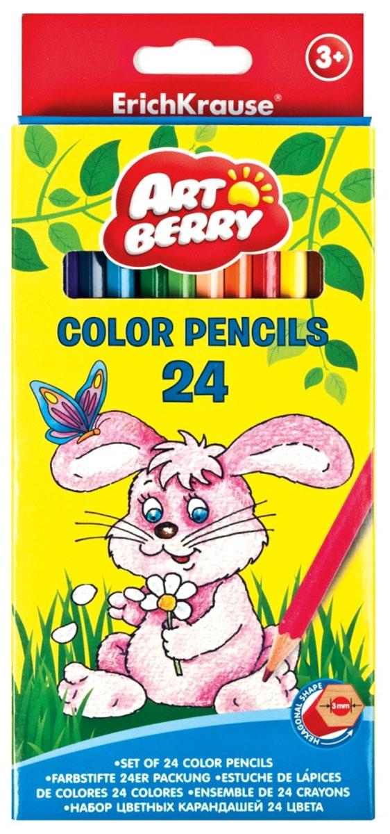 Artberry Набор цветных карандашей 24 шт1960/12-01Шестигранные цветные карандаши с толщиной грифеля 3 мм, толщина самого карандаша 7 мм. Увеличенное количество цветовых пигментов для еще более ярких и насыщенных цве тов. Корпус выполнен из качественной древесины. Грифели не крошатся при рисовании, при падении не трескаются. Карандаши легко, без усилий затачиваются. Стружка аккуратная, тонкая, без ворсинок.
