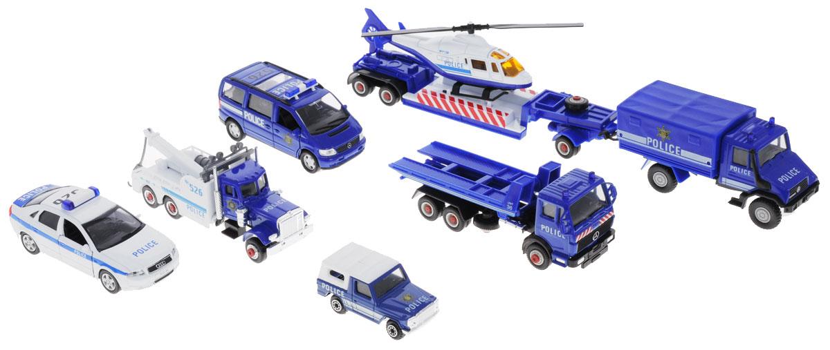 Welly Игровой набор Полиция 9 предметов машинки welly игрушка игровой набор гараж включает 1 машину