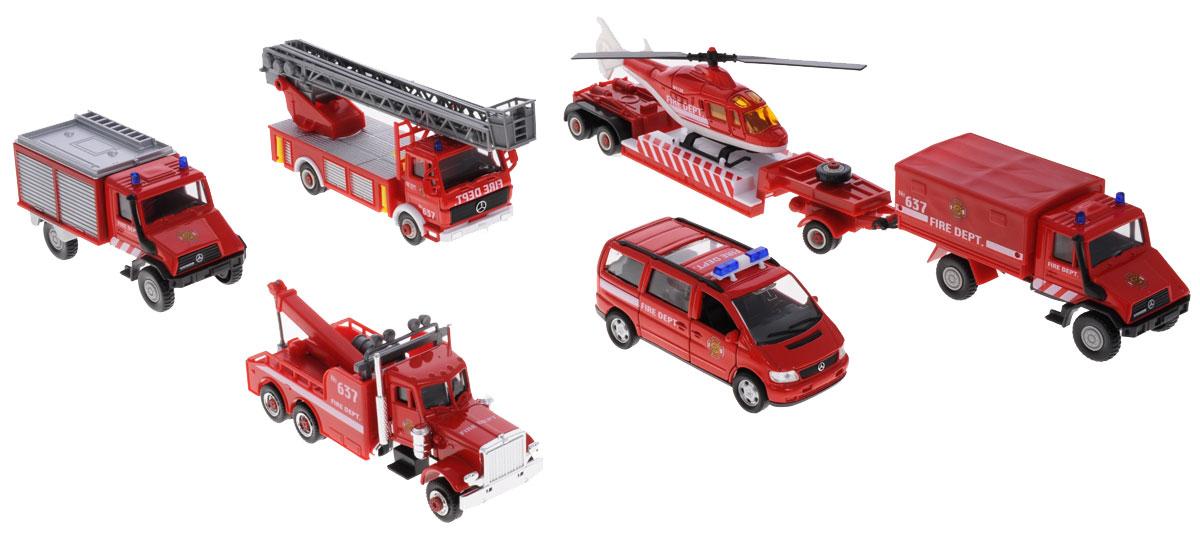 Welly Игровой набор Пожарная команда 8 предметов машинки welly игровой набор пожарная команда 5 шт