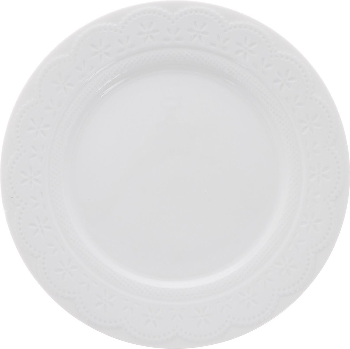 Тарелка обеденная Walmer Charlotte, цвет: белый, диаметр 26 смW07330026Обеденная тарелка Walmer Charlotte, выполненная из высококачественного фарфора, декорирована рельефным орнаментом. Изящный дизайн придется по вкусу и ценителям классики, и тем, кто предпочитает утонченность. Обеденная тарелка Walmer Charlotte, идеально подойдет для сервировки стола и станет отличным подарком к любому празднику.Можно использовать в микроволновой печи и мыть в посудомоечных машинах.