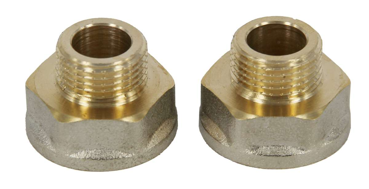 Переходник Jif, с ребордой, усиленный, резьба внутренняя/наружная: 1/2 х 3/8ИС.071624Переходник с ребордой усиленный 1/2х3/8, резьба внутренняя/наружная, с цангой 10 мм, хромированный, предназначен для подключения жесткой подводки к смесителю.Соединение: наружная резьба - цанга.