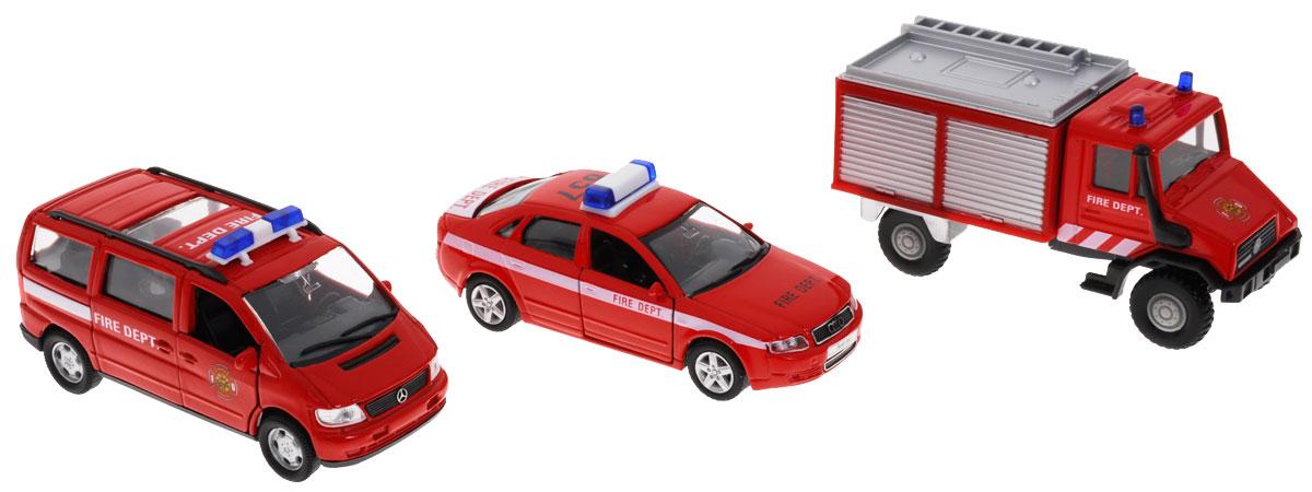 Welly Набор машинок Пожарная служба 3 шт городской транспорт welly набор машинок welly пожарная служба 11 см 3 шт