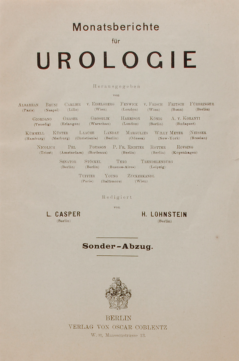 Monatsberichte fur Urologie0120710Берлин, 1910 год. Издательство  Verlag von oscar Coblentz. Издательский переплет. Сохранность хорошая. Сохранена оригинальная обложка.This book may have occasional imperfections such as missing or blurred pages, poor pictures, errant marks, etc. that were either part of the original artifact, or were introduced by the scanning process. We believe this work is culturally important, and despite the imperfections, have elected to bring it back into print as part of our continuing commitment to the preservation of printed works worldwide. We appreciate your understanding of the imperfections in the preservation process, and hope you enjoy this valuable book.Издание не подлежит вывозу за пределы Российской Федерации.