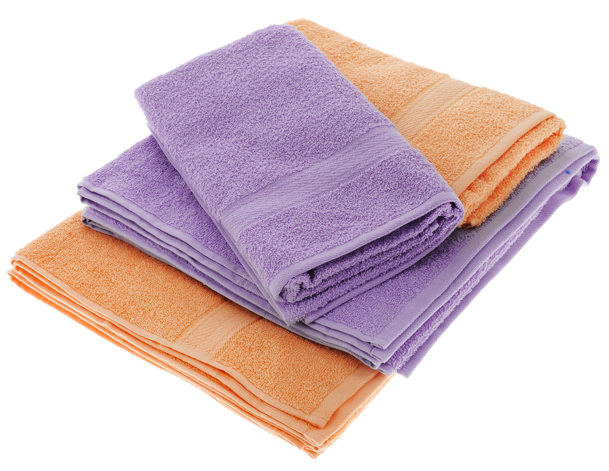 Набор махровых полотенец Aisha Home Textile, цвет: сиреневый, персиковый, 4 штУзТ-ПМ-103-05-24Набор Aisha Home Textile состоитиз двух полотенец 50 х 90 сми двух банных 70 х 140 см.Полотенца выполнены изнатурального 100% хлопкаи махровой ткани.Изделия отлично впитывают влагу,быстро сохнут, сохраняют яркостьцвета и не теряют формы дажепосле многократных стирок. Полотенца Aisha Home Textile оченьпрактичны и неприхотливы в уходе.Комплектация: 4 шт.