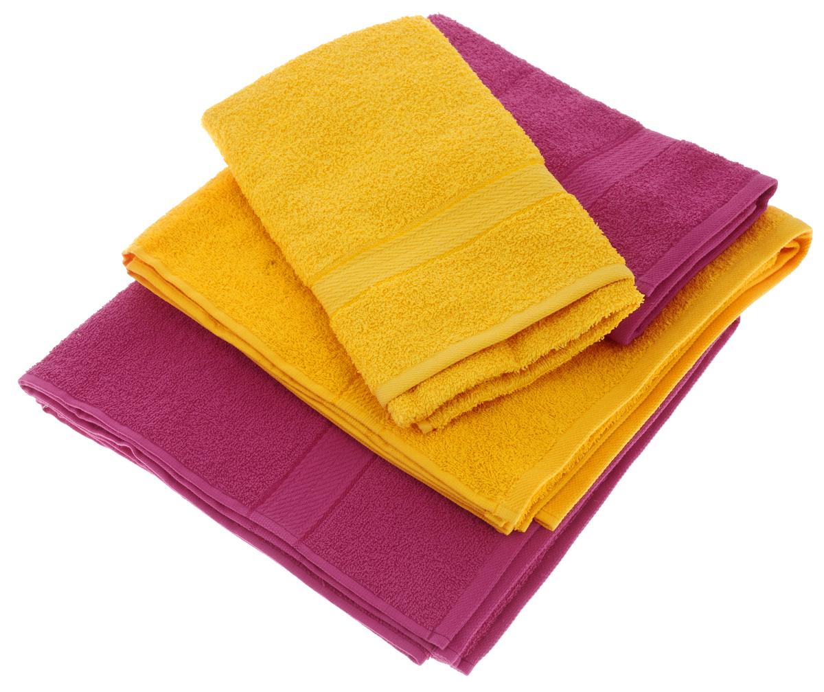 Набор махровых полотенец Aisha Home Textile, цвет: желтый, малиновый, 4 штУзТ-ПМ-103-21-28Набор Aisha Home Textile состоитиз двух полотенец 50 х 90 сми двух банных 70 х 140 см.Полотенца выполнены изнатурального 100% хлопкаи махровой ткани.Изделия отлично впитывают влагу,быстро сохнут, сохраняют яркостьцвета и не теряют формы дажепосле многократных стирок. Полотенца Aisha Home Textile оченьпрактичны и неприхотливы в уходе.Комплектация: 4 шт.