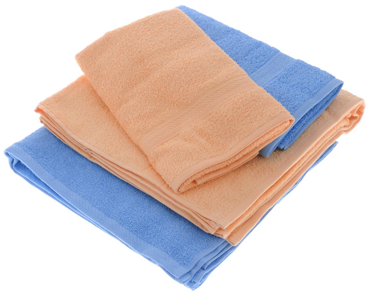 Набор махровых полотенец Aisha Home Textile, цвет: голубой, персиковый, 4 штУзТ-ПМ-103-06-24Набор Aisha Home Textile состоит из двух полотенец 50 х 90 см и двух банных 70 х 140 см. Полотенца выполнены из натурального 100% хлопка и махровой ткани. Изделия отлично впитывают влагу, быстро сохнут, сохраняют яркость цвета и не теряют формы даже после многократных стирок.Полотенца Aisha Home Textile очень практичны и неприхотливы в уходе. Комплектация: 4 шт.