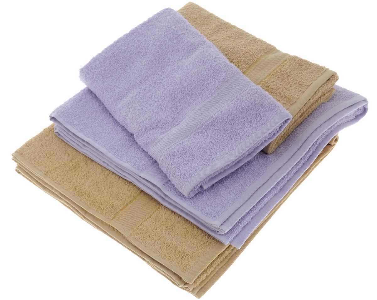 Набор махровых полотенец Aisha Home Textile, цвет: светло-коричневый, сиреневый, 4 штУзТ-ПМ-103-23-05Набор Aisha Home Textile состоит из двух полотенец 50 х 90 см и двух банных 70 х 140 см. Полотенца выполнены из натурального 100% хлопка и махровой ткани. Изделия отлично впитывают влагу, быстро сохнут, сохраняют яркость цвета и не теряют формы даже после многократных стирок. Полотенца Aisha Home Textile очень практичны и неприхотливы в уходе.Комплектация: 4 шт.