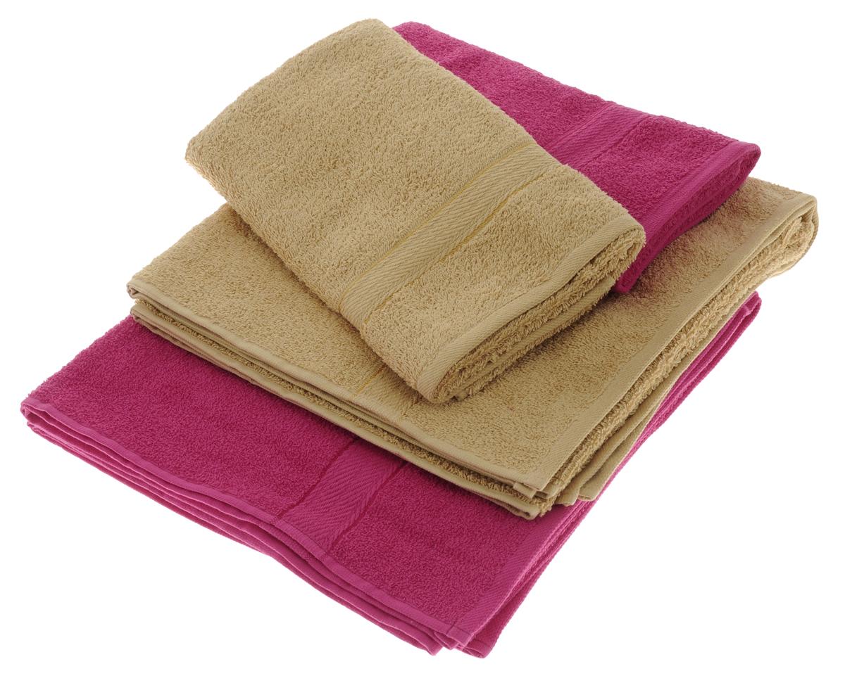 Набор махровых полотенец Aisha Home Textile, цвет: светло-коричневый, малиновый, 4 штУзТ-ПМ-103-23-28Набор Aisha Home Textile состоит из двух полотенец 50 х 90 см и двух банных 70 х 140 см. Полотенца выполнены из натурального 100% хлопка и махровой ткани. Изделия отлично впитывают влагу, быстро сохнут, сохраняют яркость цвета и не теряют формы даже после многократных стирок. Полотенца Aisha Home Textile очень практичны и неприхотливы в уходе.Комплектация: 4 шт.