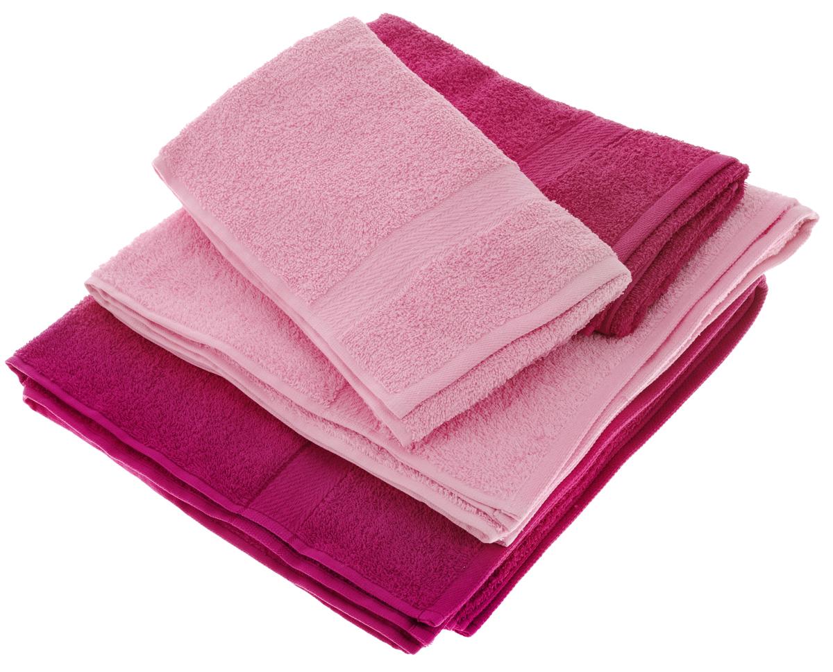 Набор махровых полотенец Aisha Home Textile, цвет: малиновый, розовый, 4 шт набор махровых полотенец issimo home jacquelyn цвет бежевый 30 x 50 см 4 шт
