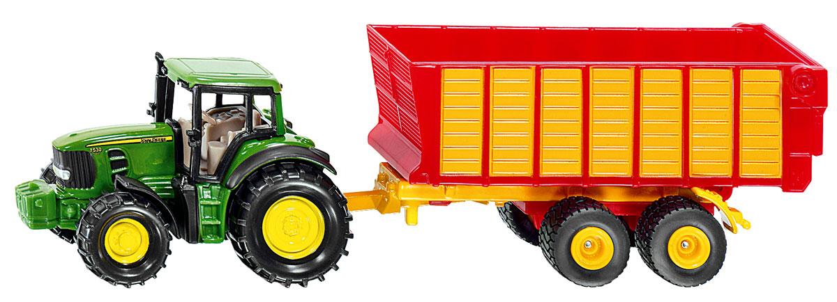 Siku Трактор John Deere с прицепом для силоса siku трактор jcb с прицепом